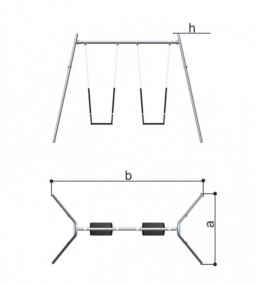 Качели двойные с цепными подвесами