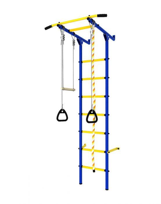Шведская стенка Romana DSK (пристенный с массажными ступенями) синий-жёлтый