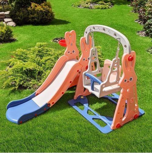 детский игровой комплекс пластиковый с качелей и горкой